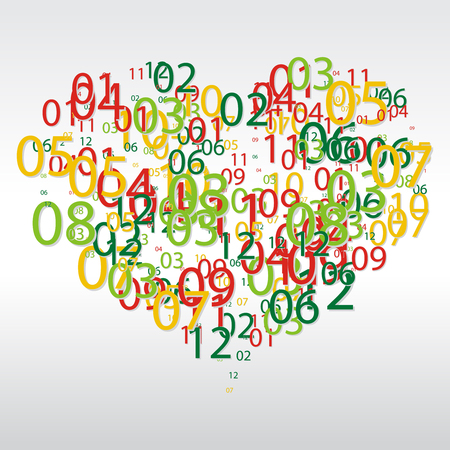 Abstract background with the numbers in the shape of heart.