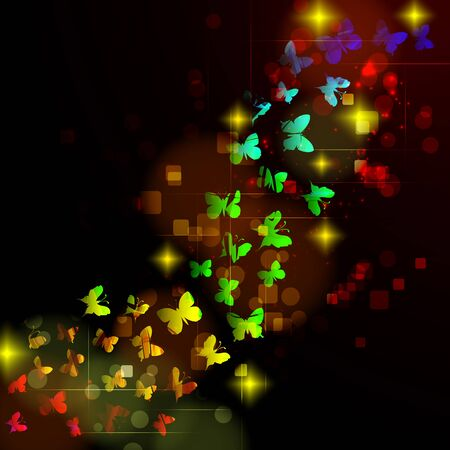 Abstract design with glowing nocturnal butterflies on a dark background. Illustration