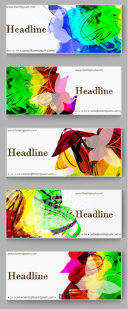 Labels template set. Advertising banners with paint spots. Design for banner, card, header, background. Illustration