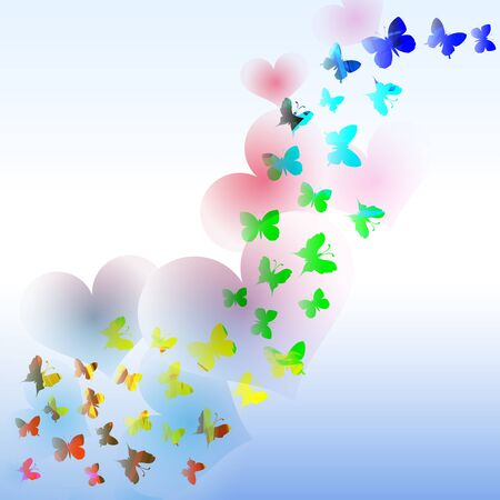 Abstract background with colorful butterfly and hearts in the wave form.