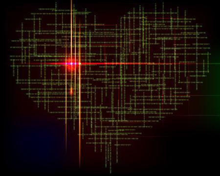 bytes: Matrix heart-abstract background with green symbols. Illustration