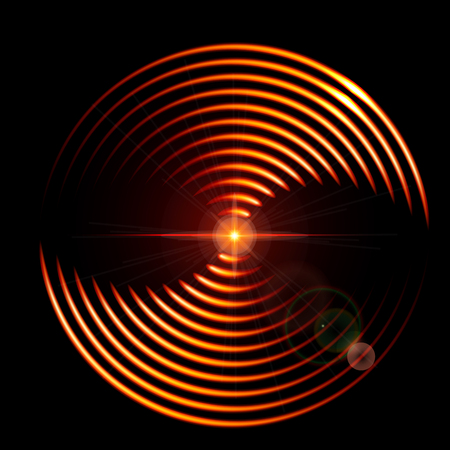 Abstract background with a fiery  DJ mix cover with music waveform a dark background.