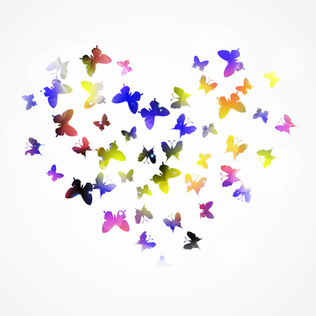 Abstract background with colorful  butterfly in the heart form.