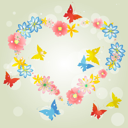 Abstract background-floral love shape. heart from butterflies. Valentines Day card.