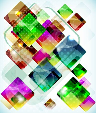 Abstract vector technology  background vith falling colored boxes. Illustration