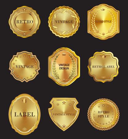 Set of golden vector metal design elements on white background. Illustration