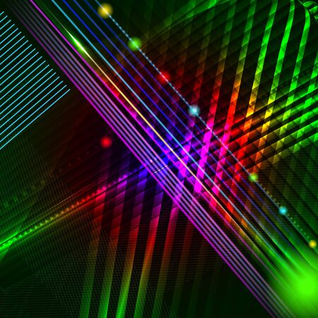 Abstract hi-tech vector background with glowing lines, neon stripes. Illustration