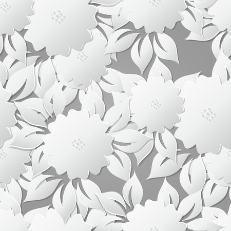 Floral Vector  Seamless Pattern Background with 3D elements with shadows.