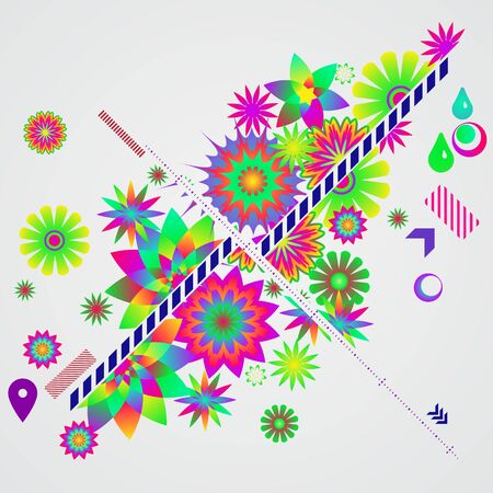 Abstract vector background with different floral design elements. Illustration