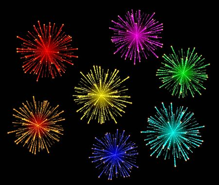 Vector illustration of bright abstract festive fireworks set.