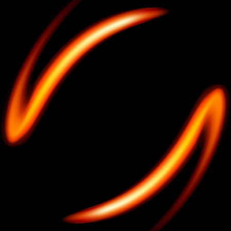 Fire shape on a black background. Vector illustration.