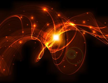 Abstract design - bright wave shape on black background. Vector illustration. Illustration