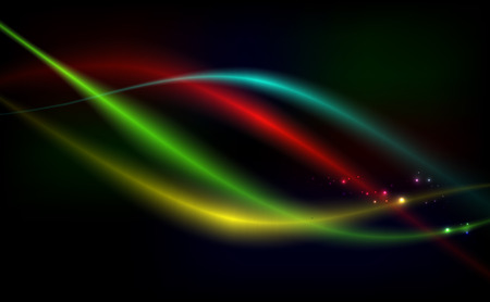 Bright vector background abstraction with coloured lines on dark background.