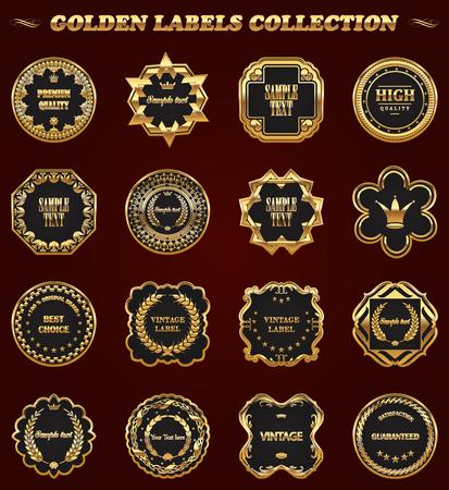 Set of gold framed vector labels - vintage style. Illustration