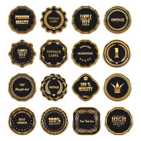 Set of vector gold framed labels.