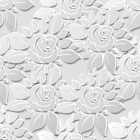 Vector flower seamless pattern background with 3D elements with shadows. Paper cut. Illustration