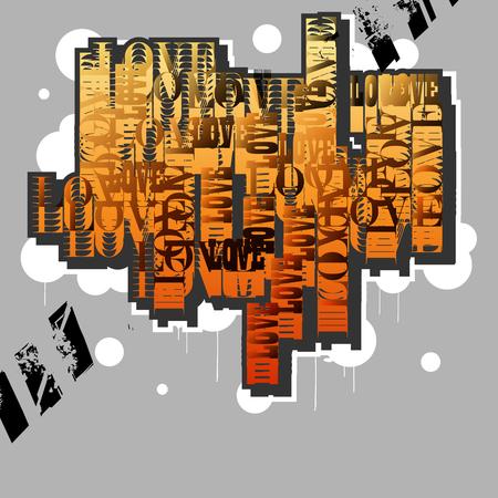 Love.Creative original design in graffiti grunge style. Vector illustration.