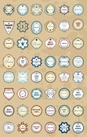 Vintage labels retro style set. Vector design elements.