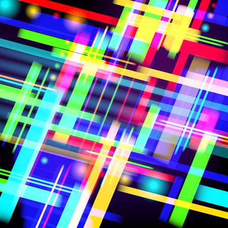 Abstract tech background of colorful light and stripes.  Vector design illustration.