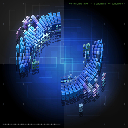 Blue abstract vector tech  background design with round shape. Modern technology concept.