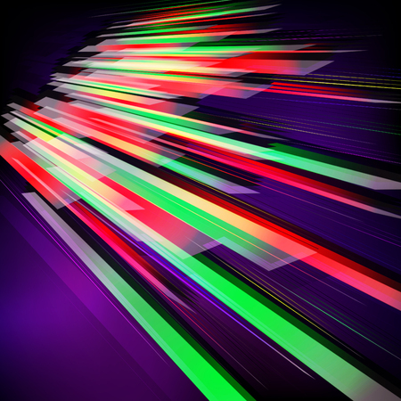 Abstract vector fractal background with various color lines and strips. Technology concept. Ilustrace