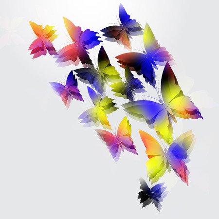 Glowing vector butterflies on white  background. Abstract design.
