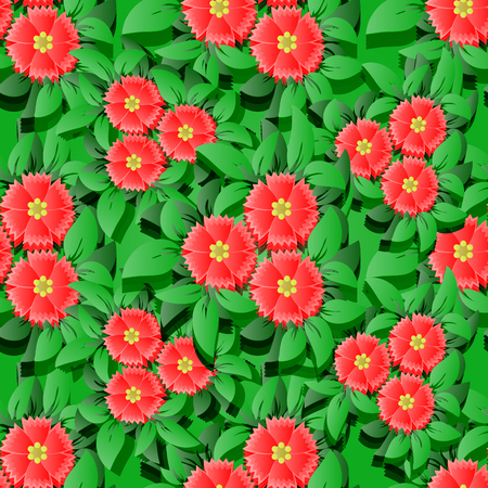 Vector flower seamless pattern backround.  3D elements with shadows. Vector illustration.