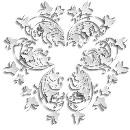 Abstract floral vector background with paper flowers butterflies.