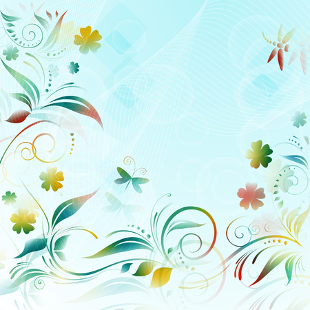 Abstract floral background with paper colorful flowers butterflies. Vector illustration. Vectores