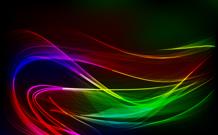 Abstract design-bright wave isolated on dark background. Vector illustration.