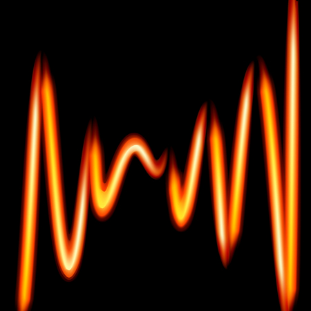 Abstract background-curved fiery lines. Vector Illustration on black background.