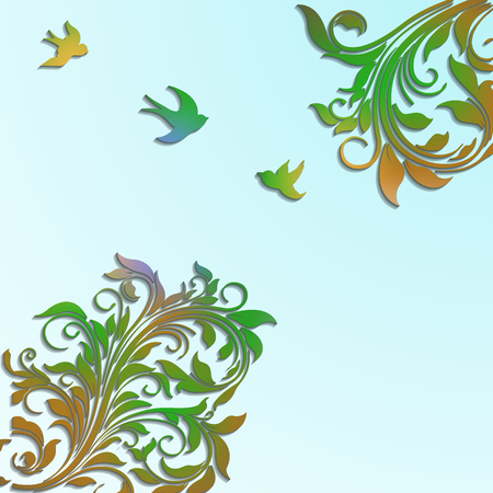 Abstract floral colorful vector background with paper flowers and birds. Ilustração