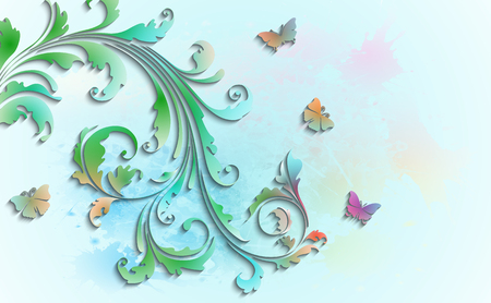 Abstract floral background with paper colorful flowers and butterflies. Vector illustration.