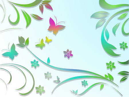 Abstract floral background with paper colorful flowers butterflies. Vector illustration. Illustration