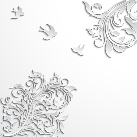 Abstract floral vector background with paper flowers and birds.
