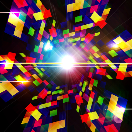 Abstract technology background - computer-generated image. Geometry design: portal of luminous colorful blocks. Digital technology concept. Vector illustration.