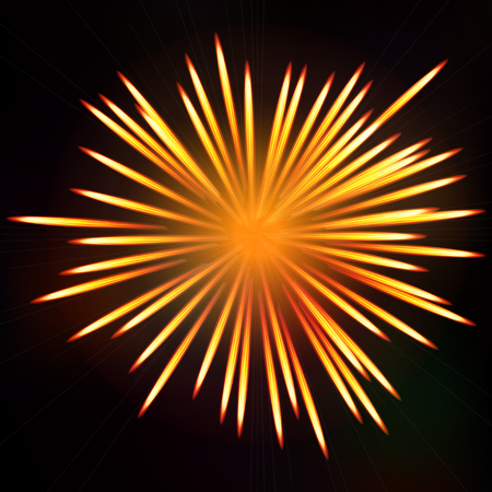 Abstract fiery fireworks explosion. Firework bursting background. Symbol festive, vector illustration.