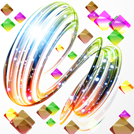 Abstract background- colored twisted round shape. Computer generated 3d vector illustration.