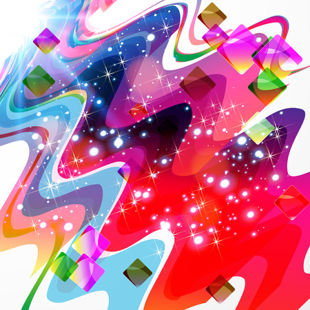 Abstract color design - futuristic background with waves and stars. Vector illustration.