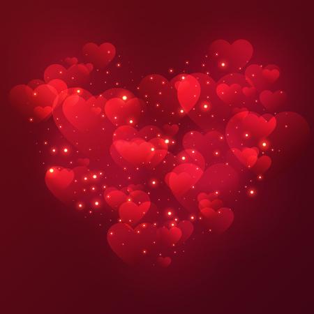 光沢のあるハートと星を持つハートバレンタインデーの背景。ベクターの図。