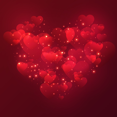Heart Valentine's day background with shiny hearts and stars. Vector illustration.