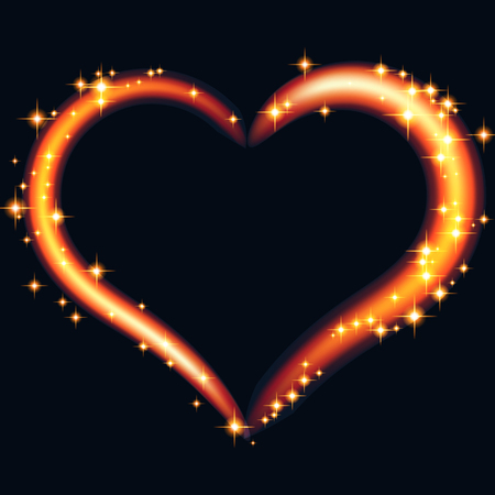 Abstract design -  fiery heart with glowing sparkling particles  on a black background. Vector illustration.