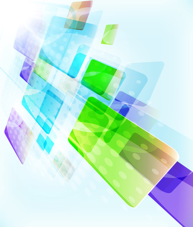 Abstract blocks template design - falling down simple geometric shapes on light coloured background, straight lines and rectangles. Vector illustration.