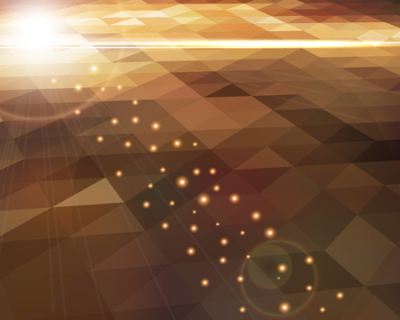 Abstract  polygon shaped background - glowing light effect and lens flares on geometric mosaic.  Colorful background with varicolored gradient triangles. Vector illustration.
