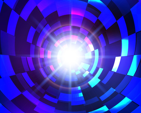 Virtual space abstract blue vector circle technology background. Technologe concept.