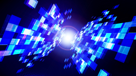 Abstract technology blue dark background with reflection of rectangular shapes and  star. Vector illustration.