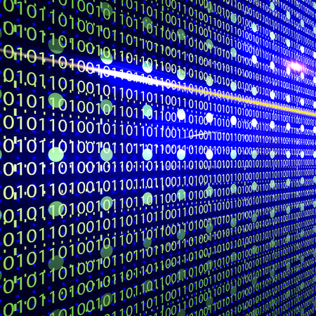 Abstract design-Binary code 3D background. Technology concept. Vector illustration. Vectores