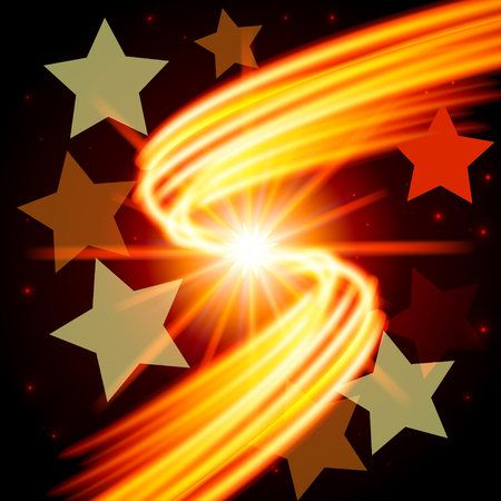 Abstract futuristic design - few stars on the background of a fiery flash. Vector illustration.