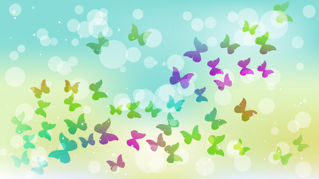 Abstract background with colored flying butterflies. Vector illustration. Ilustrace