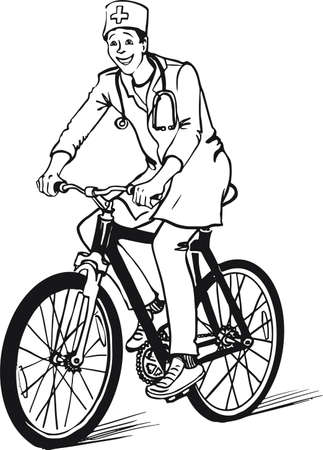 vector sketch of a doctor riding a bicycle hand drawn